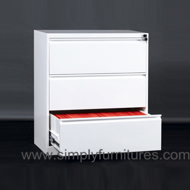 3 drawers steel lateral office cabinet white