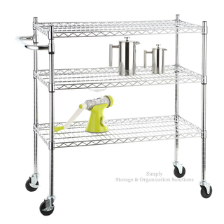 3-layer chrome-plated mobile metal trolley with handle