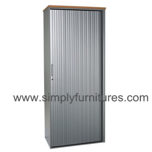 single tambour door storage metal cupboard