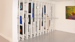 Art rack pull out storage panel