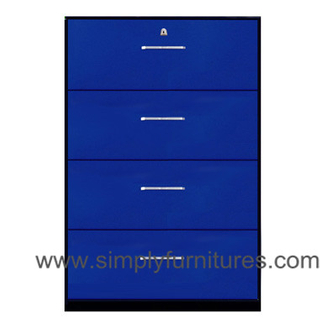 4 drawers home steel lateral file cabinet blue