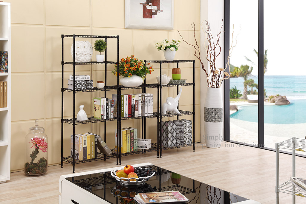 living room epoxy power coating back wire shelving system