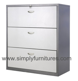 modern design 3 drawers steel lateral filing cabinet grey