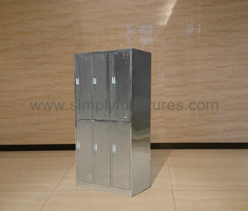 stainless steel military locker with 6 doors