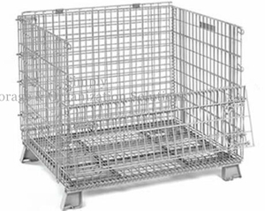 Medium Duty 600lbs Wire Container with Half Drop Gate Cold Galvanized Surface