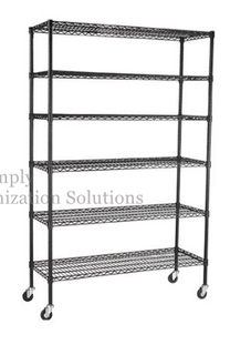 6 tier chrome plated mobile wire shelving with caster