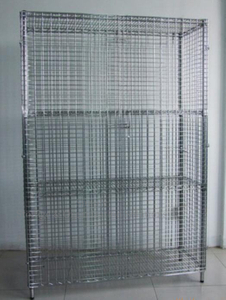 "40"" X 18"" X 72"" Wire Utility Cart , Logistics Laundry Wire Roll Cage Container"