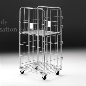 Trundle Design Wide Guage Steel Wire Utility Cart For Hospital / Supermarket