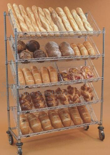 Mobile Slanted Steel Bread Wire Shelving
