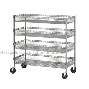 4 Layers Epoxy Coated Wire Baskets Shelving Units with Castors Grocery Display Wire Rack