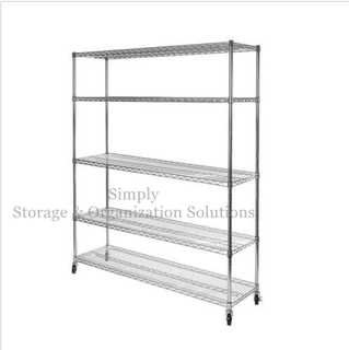 "Mobile Commercial Grade Steel Wire Shelving for Outdoor Products 54"" W X 14"" D"