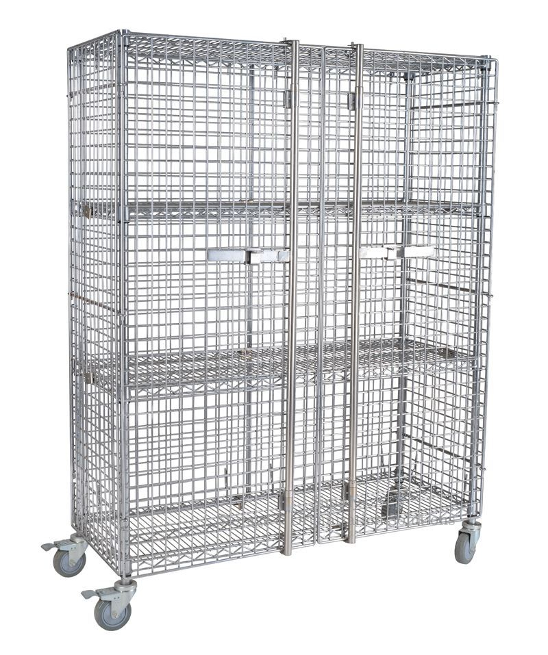 Two Doors Galvanized Metro Wire Security Cage Cart Material Storage