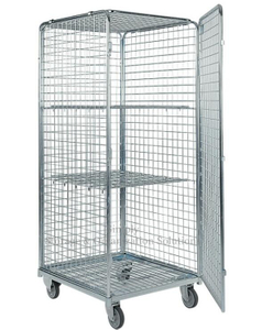 Four Mesh 2 Shelves Nestable Wire Roll Cage for Tools Storage