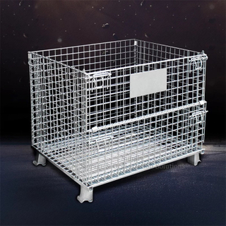 Collapsible Mesh Container for Supermarket Materials Storage